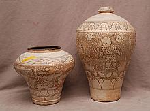2 Chinese pottery vessels with incised figures & designs, brown on ivory, 17