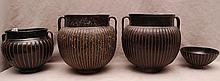 3 ribbed Chinese brown open vessels with handles and 1 bowl, vessels (7