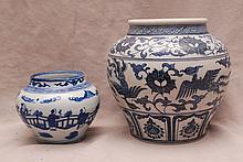 2 vases, blue on white larger is matte finish with Phoenix birds in flight, smaller is high glaze porcelain landscape