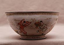 Enameled Chinese bowl with figures around, 3