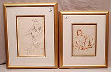 (3) Pieces, (2 Paintings & 1 Print sold together):  Raphael Soyer (American 1899-1987) Nude Drawings, single figure is 10