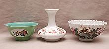 3 porcelain Chinese pieces, incl; white bowl with floral design and finely scalloped rim (3