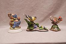 3 Boehm porcelain birds, incl; Fledgling Western Bluebirds #494, American Gold Finch #400-39 and Baby Cardinal #400-57