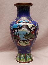 Cloisonné vase, mountain scenes, 14 1/4