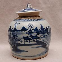 19th Century Chinese Canton covered jar, 7 1/4