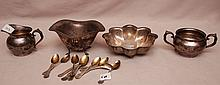 Sterling beaded edge, open sugar bowl, creamer, scalloped bowl, footed bowl and 11 sterling demitasse spoons, 11ozt