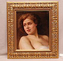 Portrait Painting of young girl oil on canvas, signed illegibly upper right, 16