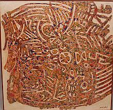 Anibal Villacis (Ecuador, b. 1927). Mixed Media on wood panel, abstract composition.