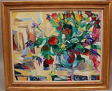 Conchita Conigliano (Spain born 1943- ) oil on canvas, Large Floral Painting, 32