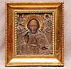 Russian Icon 19th Century w/ silver & gilt, in antique gilded frame, Icon is 10