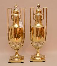 Pair Christofle Silver Plated Urns & Covers with a gold wash.  Ht. 14 3/4
