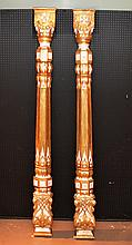 Pair architectural Masonic columns with cross at top, painted carved wood with gilt accents,19th c. European