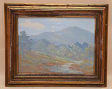 Louis Rowell (AMERICAN, 1870-1928) oil on board, landscape rolling hills, 9