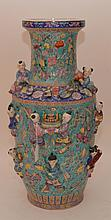 Large Chinese Porcelain Figures with raised figures.  Ht. 28 1/2