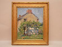 American School oil on board, farmhouse figure and a chicken, Pennsylvania academy of fine arts label on verso, 14