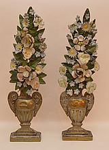 Pair 19th c. tole floral arrangements in urn, wood and brass bases