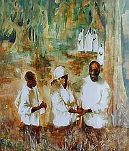 Alice Scott (Amer 1924-2005) Black Americana Art A figural mixed media (watercolor and gesso) painting depicting African American figures dressed in white robes in a forest setting, 22