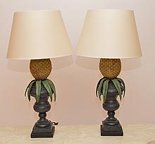 Pair Composition pineapple lamps