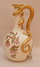 Royal Worcester porcelain ewer with lizard, 11 1/2