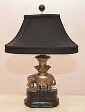 Elephant form lamp with custom shade, 24
