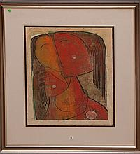 Angel Botello (PUERTO RICAN, 1913-1986) original linocut depicting mother & child, numbered 17/50 lower left. Signed Botello lower right. Measures 27