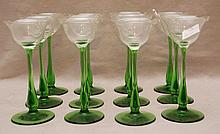 12 early 20th c. green stemmed cordials with etched monogram, 5 3/8