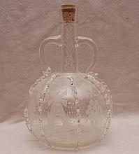 19th cent. Dutch blown decanter, cork in place of stopper, multiple etchings and ribs, 10