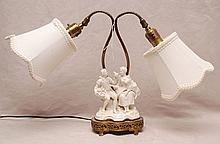 French porcelain shepherd lamp on attached reticulated footed stand, 12 1/2