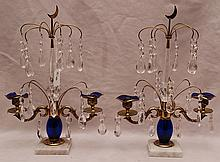 Pair of 19th c. crystal, cobalt blue and brass candelabra on attached marble bases, possibly Russian, 13 1/2