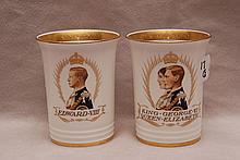 Pair of Minton figural cups; 1 is of King George VI & Queen Elizabeth, crowned May 12, 1937 (4