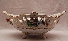 Dresden oval reticulated centerpiece, floral motif with gold accents, 6 3/8
