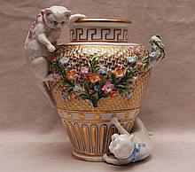 Floral vase, German mark, 2 cats attached playing , 8