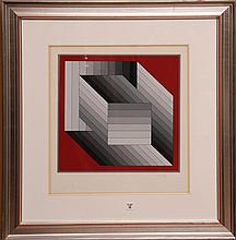 Victor Vasarely (French/Hungarian, 1906-1997) red & gray cubes Lithograph, pencil signed Vasarely (lower right) numbered 148/200, sight 21-1/2