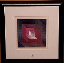 Victor Vasarely (French/Hungarian, 1906-1997) Cubes Lithograph, pencil signed Vasarely (lower right) numbered 175/300,  sight 13
