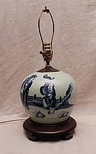 2 oriental lamps, 19th c. Canton ginger jar (14