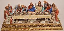 A CAPODIMONTE PORCELAIN GROUP OF THE LAST SUPPER, 2ND HALF 20TH CENTURY. Sculpted in full round and decorated in natural colors. Artist signed Cortese and numbered 500.  Ht. 13
