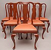 6 mahogany Queen Ann style side chairs