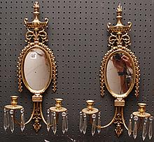 Pair of mirrored brass 2 light wall sconces, 23