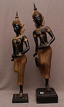 Pair of Bronze Balanese dancers on attached wood stands, 25
