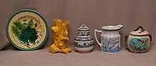 5 assorted pieces porcelain, incl; yellow tree trunk vase with squirrel (7 3/4
