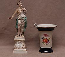 Early Meissen porcelain figure (old repair to arm & neck) sold with Meissen porcelain vase, 5 1/2