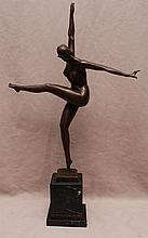 Bronze nude dancer, figure is 17 1/2