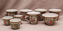 9 assorted Rose Medallion teacups, four have no handles, 2 1/8
