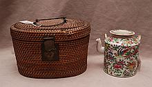 2 Rose Medallion teapots and 2 tea cups (one teapot in original wicker basket)
