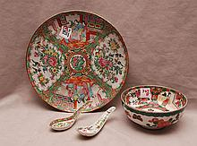 4 Rose Medallion pieces, incl; platter (10