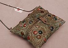 Brass & stone purse, hinges
