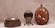 3 misc. pieces, incl; wood plaque with ivory elephant inlay, brass box with lid, enameling around,  (missing finial), AND gourd type vessel (with crack), mounted with 800 silver