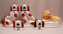 6 Staffordshire pieces, incl; 2 lions, one is (8 1/2
