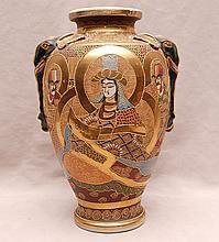 Satsuma vase with 5 figures, elephant handles, 12