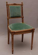 Diminutive French side chair, floral carving with acorn finial (one as is) and green velvet upholstery